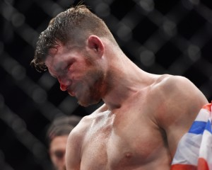 Feb 27, 2016; London, United Kingdom; Michael Bisping reacts after his fight against Anderson Silva during UFC Fight Night at O2 Arena. Mandatory Credit: Per Haljestam-USA TODAY Sports