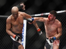 Feb 27, 2016; London, United Kingdom; Anderson Silva (red gloves) competes against Michael Bisping (blue gloves) during UFC Fight Night at O2 Arena. Mandatory Credit: Per Haljestam-USA TODAY Sports
